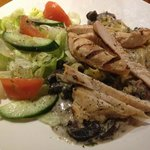 Portabelo mushroom & goats cheese pasta with chicken breast