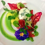 Herb Panna Cotta, Cured Ham, Peas and Shoots