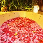 Our fresh-cut flower bath drawn on arrival.
