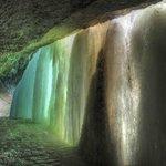 Natural light behind the falls