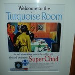 advertisement from the original Turquoise room that was actually on a train