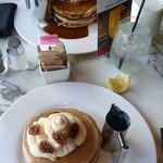 Our breakfast of carrot cake pancakes (front) and cinnamin apple stuesal pancakes