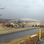 rainbow on golf course, from grande cascade lodge.