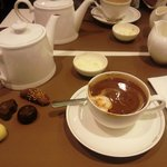Selection of truffles and hot chocolate