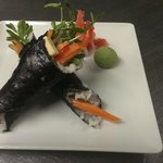 Vegetarian Hand Rolls with Pea shoots ,Avocado and house pickled Vegetables