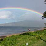 Rainbow welcomes our guests at Kihei Kai early in the morning