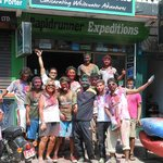 Holi celebration in front of the shop