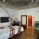 Dining area and the beautiful fresco on the ceiling