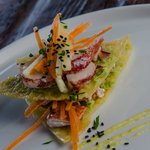 Lobster Napoleon with fennel carrot slaw