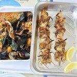 Risotto ai frutti di mare - spiedini di calamari