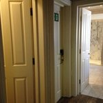 view from bedroom; separate bathroom, bath & shower and 'back' door