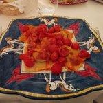 Eggplant ravioli in tomato sauce