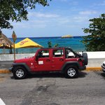 Jeep in front of the water!