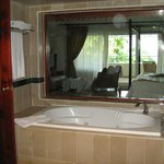 View from bathroom into bedroom
