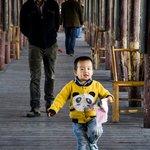 A boy having fun on the bridge!