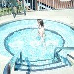 My granddaughter enjoying the hot tub