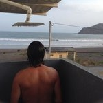 checkin the surf from the shower!