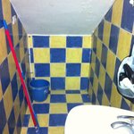 Mop and end of the toilet where water accumulated unless pushed towards the drain a few times