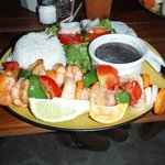 Shrimp kabob dinner