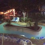 Night view of the Tiki Bar & Heated Lazy River~