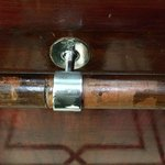 The handle in the elevator. You can see the place needs to be renovated.