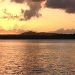 Sunset with wine on the pontoon