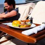 Amazing hamburger by the pool