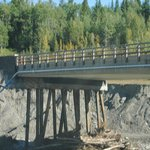 Damaged bridge on Highway 66