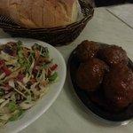 cabbage salad, bread basket & meatballs