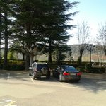 The hotel car park and view across fields
