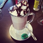 Hot chocolat served with mint chocolate. Can offer sweet biscuit when arrival before meal.