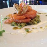 Scottish Smoked Salmon - cucumber & herb salsa verde - seared King Prawns - Irish shellfish butt