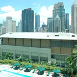 View from the room to the pool and Makati
