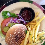 Yummy Cajun burger, the jam like chutney in the pot was extremely nice