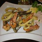 Deep-Fried Seafood with Salad