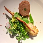 Entree: Pig and Pea Salad, with seared scallop and serrano and asparagus ballotine.