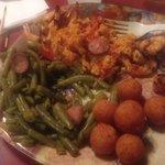 Grilled shrimp kebab dinner