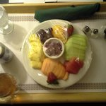 Room Service -- Fresh Fruit Plate with Blueberry Greek Yogurt & Muffin, Diet Pepsi, and Iced Tea