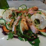 Delicious Tiger prawns and fresh garden salad