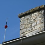 Lightning rod on the boyhood home in Johnson City