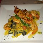 King Prawns on saffron tagliatelle, squid ink tagliatelle, roasted vegetables (€19.50)