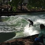 surfers in the river