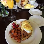 Chicken and waffle benedict.