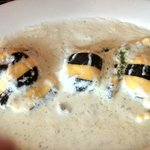 Gorgeous lobster ravioli, striped with squid ink