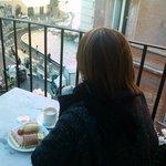 Vista do terraço no café da manhã