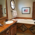 Very nice, large bathroom with soaking tub and huge shower.
