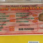 los michoacanos menu