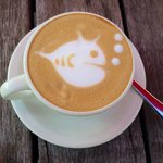 1904 Coffee at the seashore with fishes. Cool Amy you are one talented Barista.