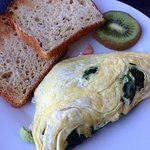 Spinach, goat cheese, avacodo and smoked salmon omelette