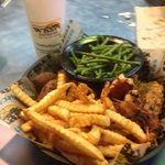 Blackened Snapper, Bacon wrapped Shrimp, green beans and fries